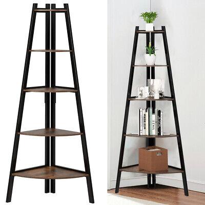 5 Tier Vintage Wood Corner Freestanding Ladder Shelf Home Display Bookcase Unit