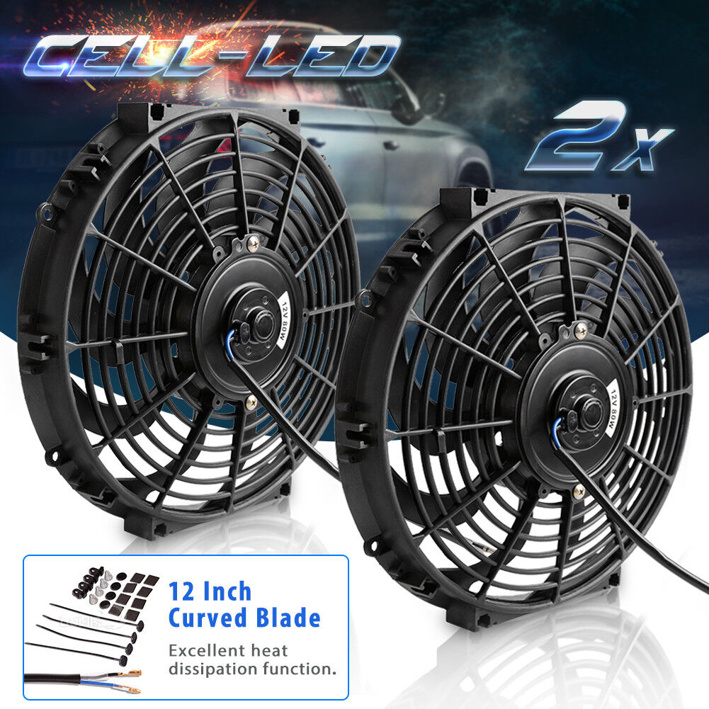 2x Universal 12''inch Electric Slim Push Pull Radiator Cooling Fan 80W Mount Kit