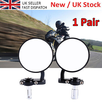 """1 Pair Adjustable Angle Motorcycle 7/8"""" Handle Bar End Rearview Mirrors UK Sale"""