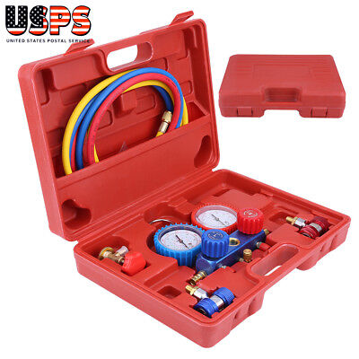 R134a Hvac Ac Refrigeration Ac Manifold Gauge Set Auto Serivice Tool With Case
