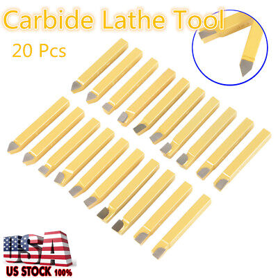 20pcs 38 Carbide Tipped Lathe Cutter Cutting Tool Set For Cnc General Lathes