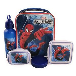 Marvel Boys' Spiderman 5 Piece Insulated Lunch Kit Set 10 Inch