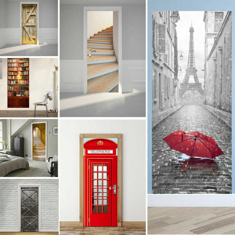 Home Decoration - 3D Door Wall Fridge Sticker Wrap Mural Scenery Self Adhesive Home Decor Decal UK