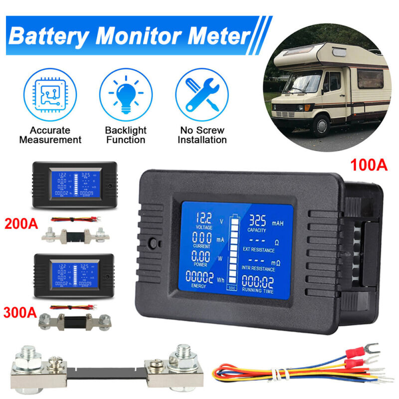 100-300A LCD Display DC Battery Monitor Meter Voltmeter Ammeter For RV Solar Car
