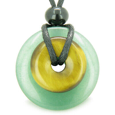 Double Lucky Amulet Magic Donuts in Green Aventurine and Tiger Eye Gemstones Pro