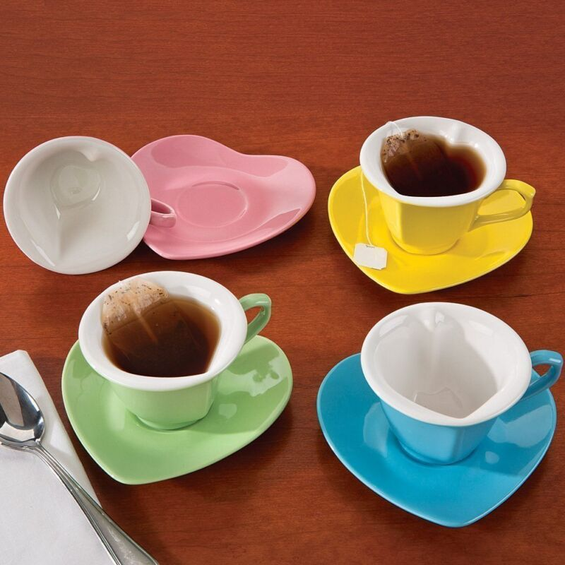 (Set of 4) Heart Shaped Cups And Saucers: Multi-Colored 5 oz. Ceramic