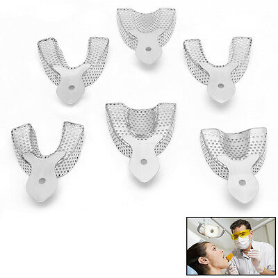 6pcspack Dental Autoclavable Metal Impression Trays Stainless Steel Upper Lower