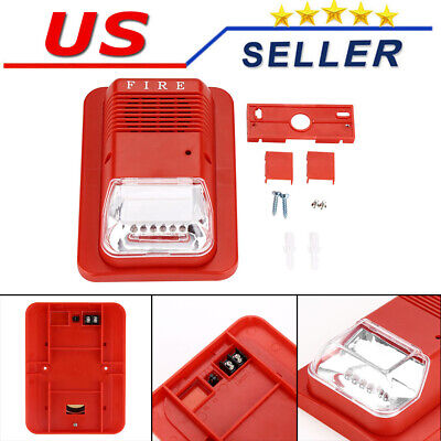 Sound And Light Fire Alarm Warning Strobe Siren Horn Alert Safety System Sensor