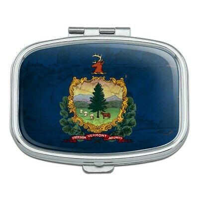 Rustic Vermont State Flag Distressed USA Rectangle Pill Case Trinket Gift Box