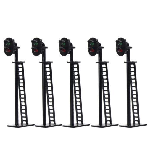 5pcs Model Railway 2-Light Block Signal Green/Red HO Scale 64mm 12V Led JTD03