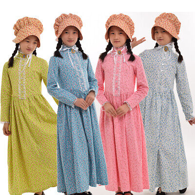 Reenactment Pioneer Prairie Colonial Girl Costume Carnival Cosplay Fancy Dress](Pioneer Girl)