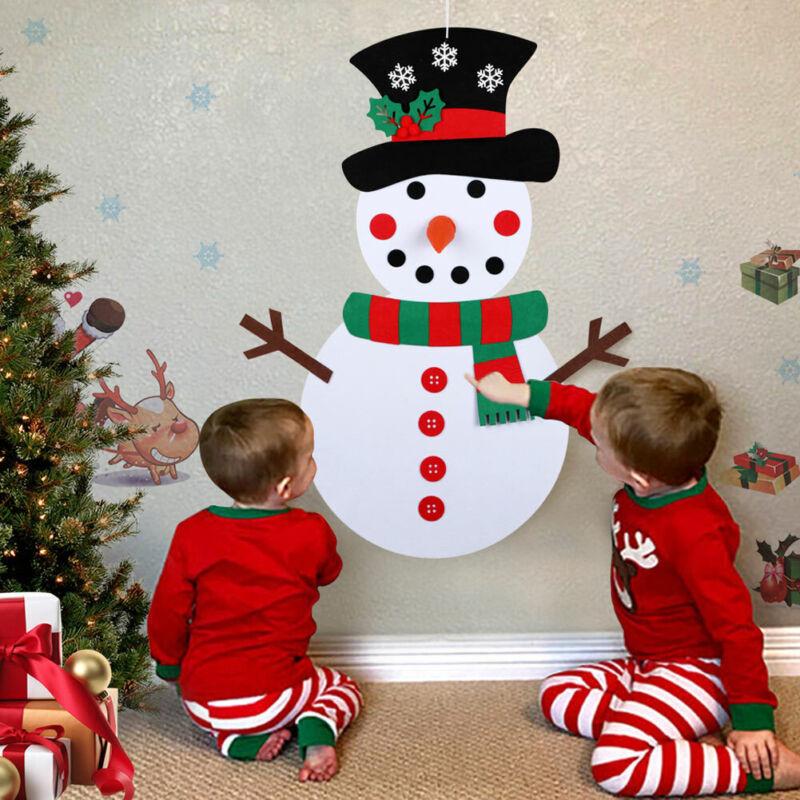 DIY Felt Christmas Snowman Games Set w/ 31Pcs Detachable Ornament Wall Hanging