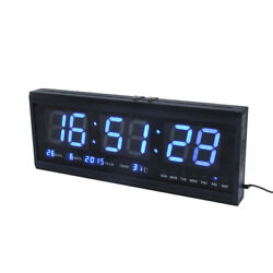 Large Digital Led Wall Modern Oversized Clock with Calendar Temperature Blue/Gre