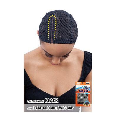 "Model Model Lace Crochet Wig Cap (Right) with Combs Diamond Shape Net 5"" GB102BK"