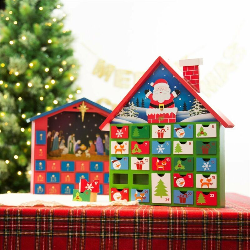 Glitzhome Handcrafted Wooden Santa House Count Down Advent Calendar Xmas Drawer