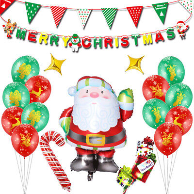 1Set Santa Claus Candy Cane Foil Balloon Banners Christmas Party Decor](Candy Cane Balloons)