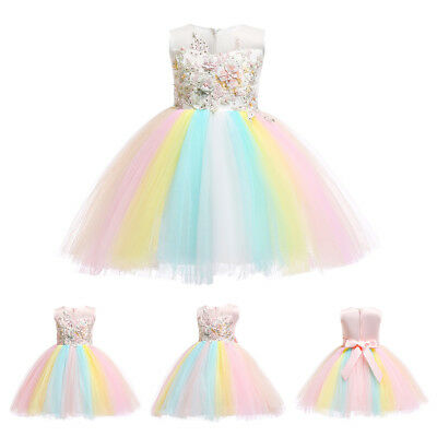 Unicorn Baby Girl Dress Headband Party Wedding Cosplay Tutu Fancy Outfit For - Fancy Dresses For Babies