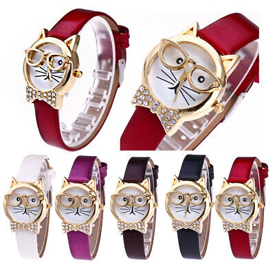 Cute Cat Round Dial Rhinestone Faux Leather Women Analog Quartz Wrist Watch Well Jewelry & Watches