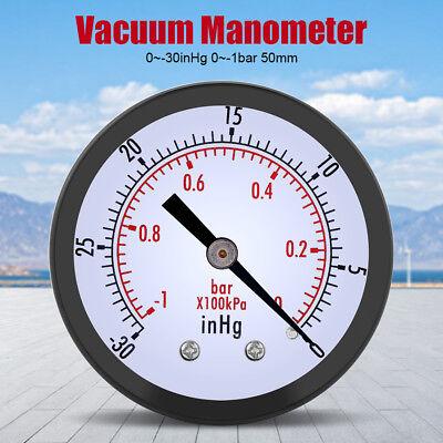 0-30inhg 0-1bar Air Compressorvacuum Dial Meter Pressure Gauge Manometer Hc3