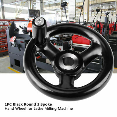 Black Round 3-spoke Hand Wheel For Lathe Milling Grinder Removable Handle
