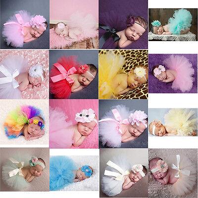 Toddler Newborn Baby Girl Tutu Skirt Flower Headband Photo Prop Costume Outfits
