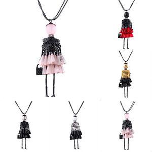 Women-Crystal-Tassel-Doll-Charm-Pendant-Necklace-Handmade-Sweater-Chain