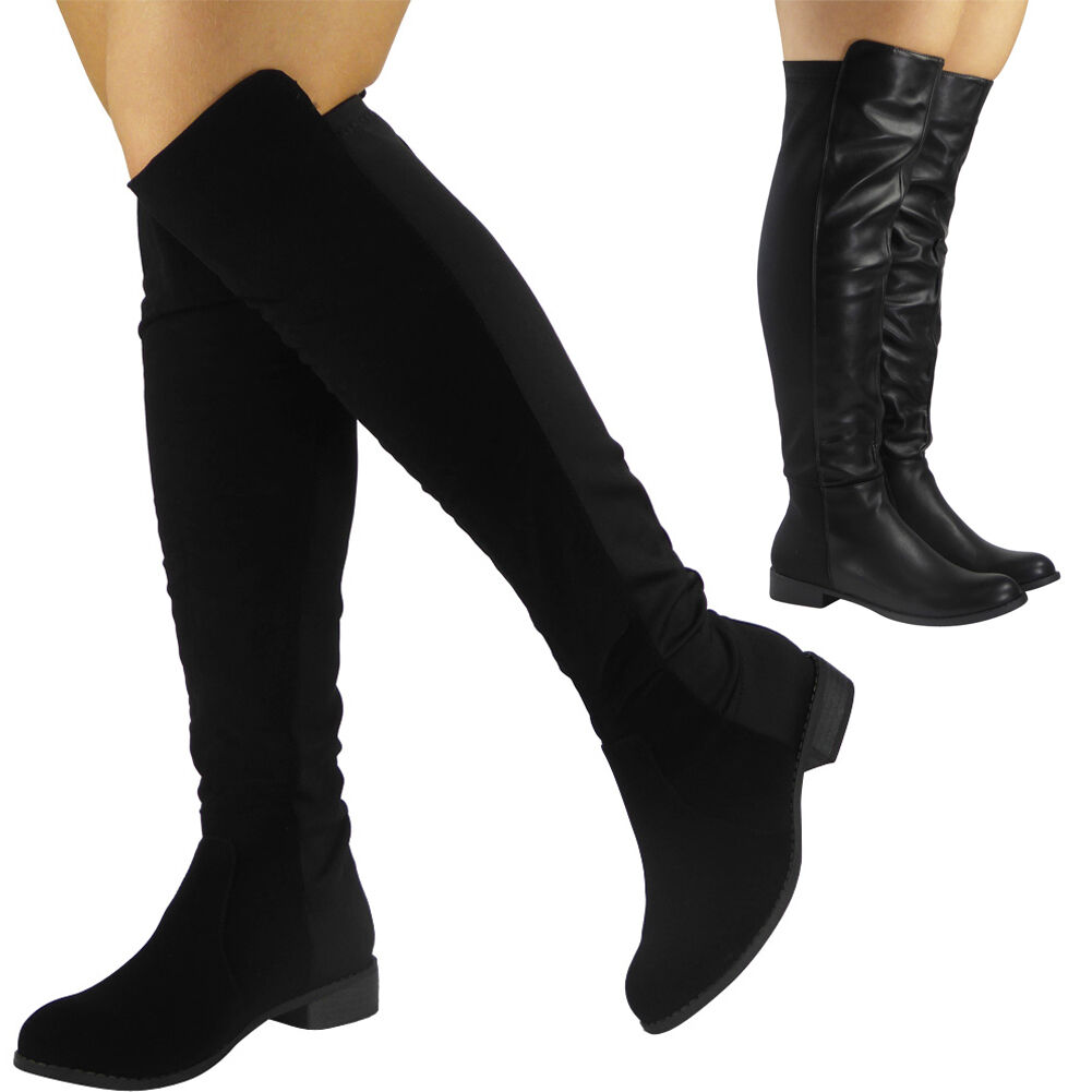 Womens Ladies Suede Lycra Mid Calf Flat Knee High Boots Long Low ... f361df130