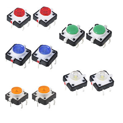 10pcs 5color Led Tactile Button Push Switch Momentary Tact With Led Round Cap