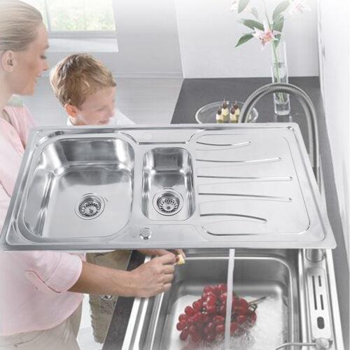 1.5 Becken Küchenspüle Waschbecken Einbauspüle Spüle mit Anschlussset Edelstahl