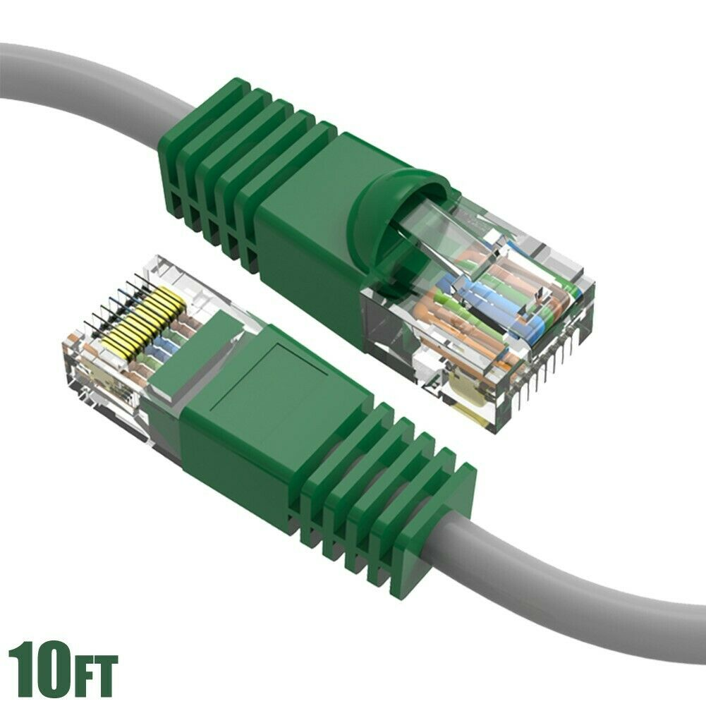 10ft Cat5e RJ45 Ethernet LAN Network Router UTP Crossover Gray Cable Green Boot