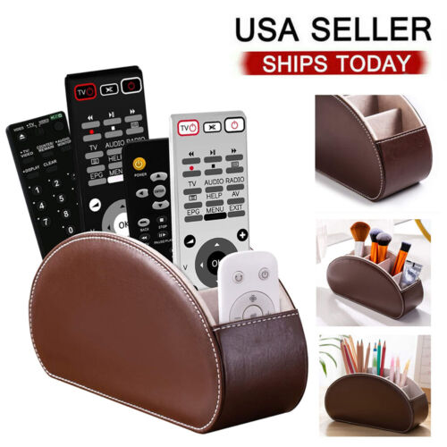 TV Remote Control Holders Organizer Box with 5 compartment PU Leather Home & Garden
