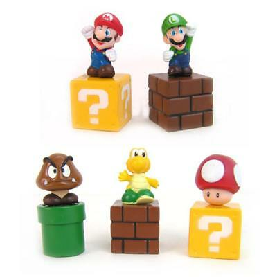5pcs Super Mario Bros Action Figure Mini Figurines Cake Topper Doll Toy Gift - Mario Cake Topper