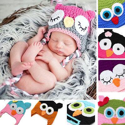 Newborn Baby Girl Boy Crochet Knit Beanie Cartoon Owl Costume Photo Prop Cap Hat