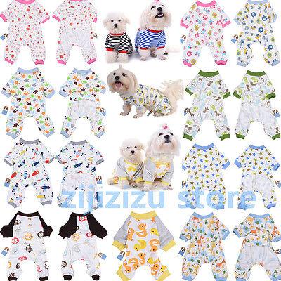 Pet Dog Pajamas Clothes Puppy Coat Jumpsuit  Apparel Cotton Cartoon Pattern Soft