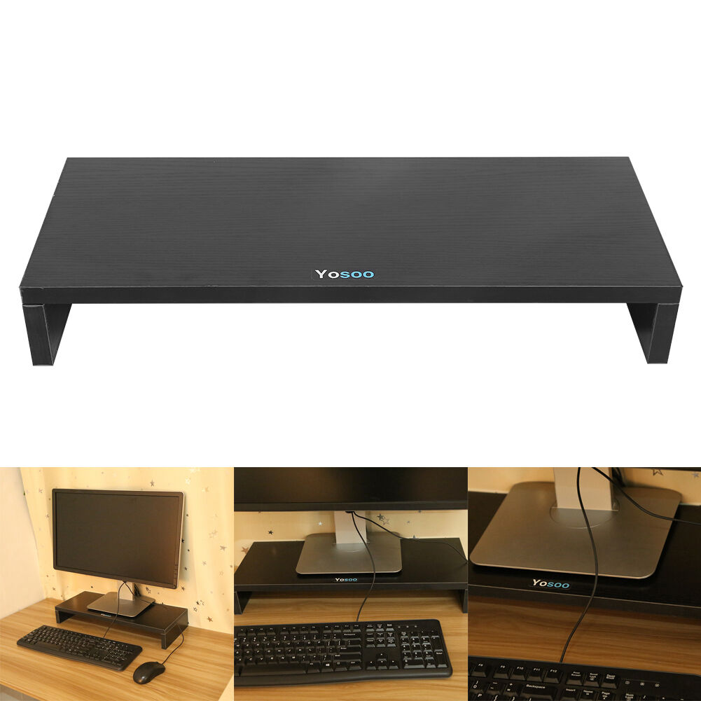 Black Computer Monitor Riser 19 5 Inch Laptop Stand Desktop Office 663862359084
