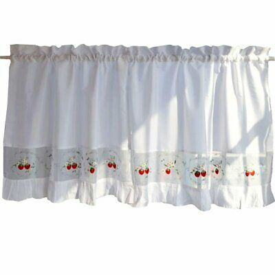 sweet strawberry embroidered curtain kitchen curtain coffee