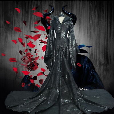 US STOCK! Halloween Maleficent Angelina Jolie Cosplay Outfit Costume Fancy Dress
