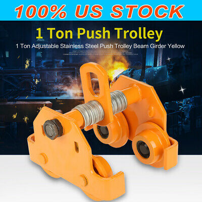 1 Ton Steel I-beam Push Beam Track Roller Trolley For Overhead Garage Hoist Usa