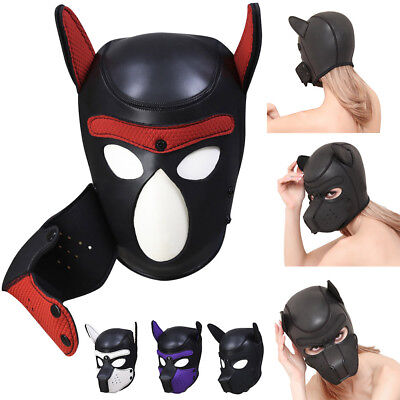 Adjustable Padded Latex Rubber Role Play Dog Mask Puppy Cosplay Full Head & - Latex Dog Mask