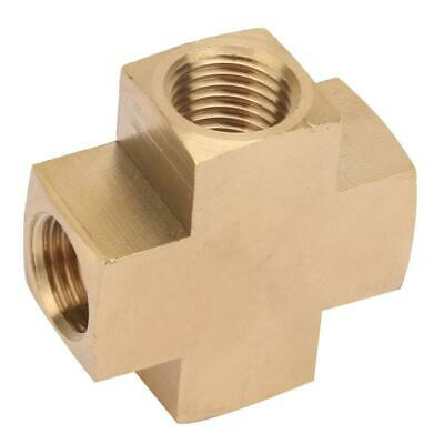 """1/4"""" Female Thread FNPT Cross Four Way Solid Brass Manifold Pipe Air Fuel Water"""