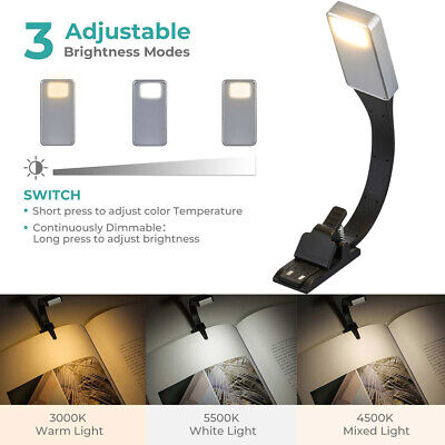 Usb Led Reading Book Light 3 Modes Flexible Clip On Rechargeable Lamp Portable
