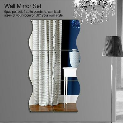 6pcs/set Square Mirror Tile Self Adhesive Wall Sticker Home