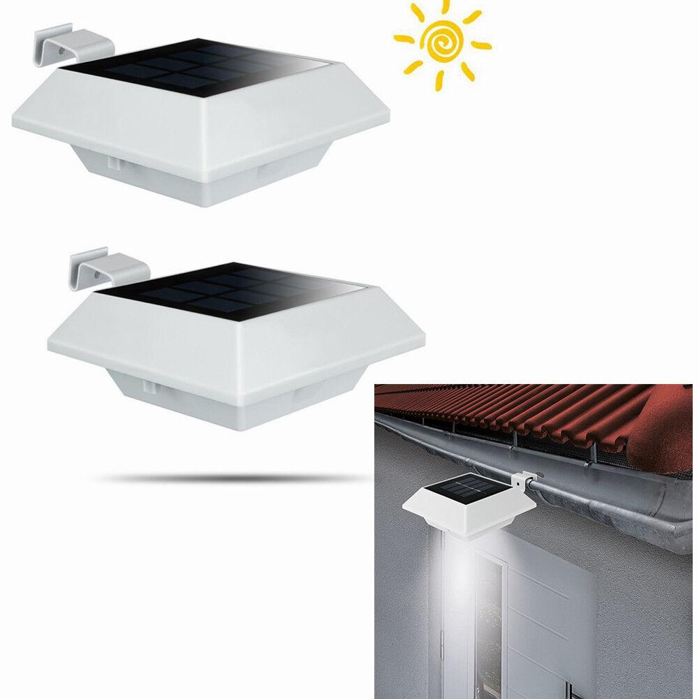 2Stk.Kabellos Weiß 6LEDs Solarleuchten Lampe für Dachrinnen Garten beleuchtung