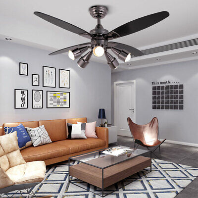 48 Modern Ceiling Fan Light 360 Rotate Remote Control 4 Wooden Blades E265