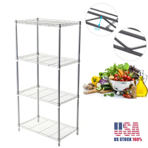 4-Tier Storage Rack Kitchen Bathroom Shelving Metal Wire Org