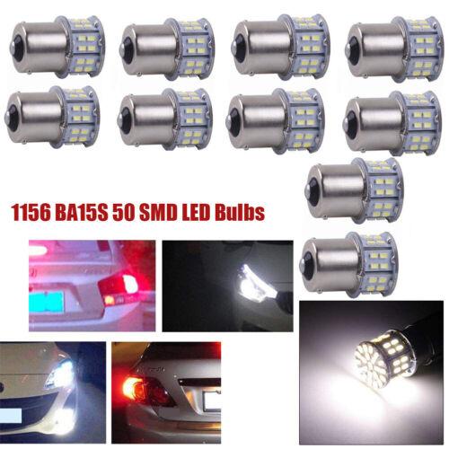 10x Cool White 1156 BA15S 50SMD Car RV Tail Backup LED Light Bulb Lights Lamp US
