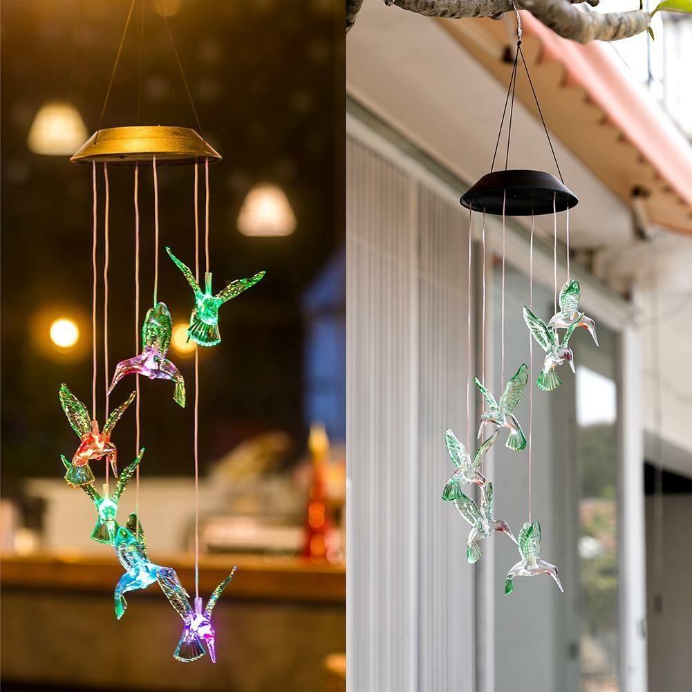 Solar Powered Color Changing LED Hummingbird Wind Chimes Hom