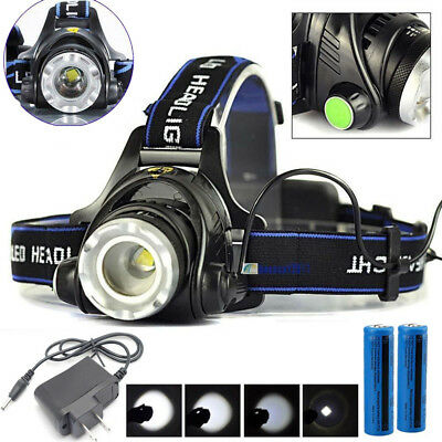 30000Lm Rechargeable Cree Headlight T6 Led Tactical Headlamp Charger 18650 Batt