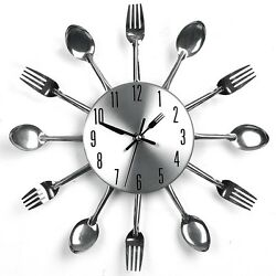 Ingenious Sliver Cutlery Style Home Kitchen Utensil Wall Clock Spoon Fork Clock