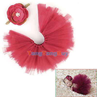Newborn Baby Girls Knit Skirt Red Crochet Costume Infant Photo Prop Outfits